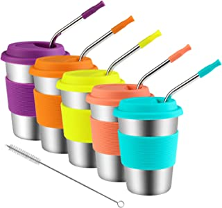Kids Stainless Steel Cups With Silicone Lids & Straws, Kereda 5 Pack 12 oz. Drinking Tumblers Eco-Friendly BPA-Free for Adults, Children and Toddlers