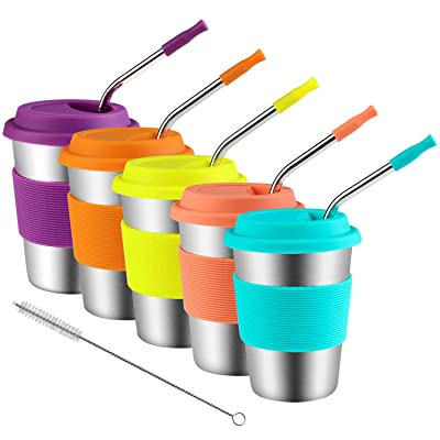 Kids Stainless Steel Cups With Silicone Lids  S...