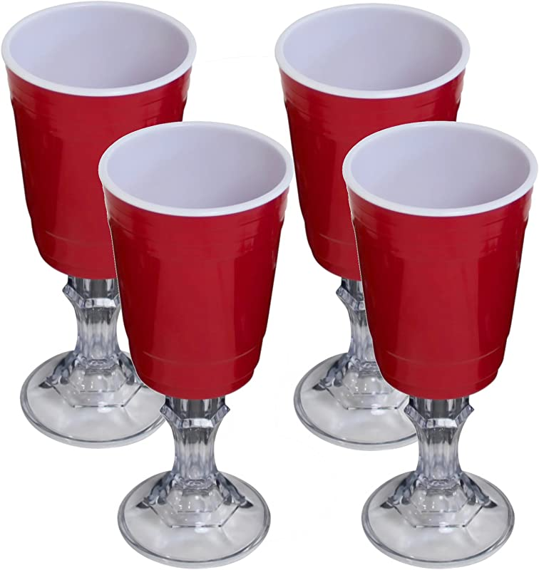 Red Cup 16 Ounce Stemmed Wine Glass 4 Pack