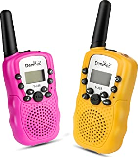 Denmer Mini Walkie Talkies UHF462-467MHz 22 Channel FRS/GMRS Two-Way Radios 1 Pair- 2 Pcs ( Pack of 2, Pink & Yellow)