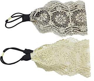 yueton Pack of 2 Elegant Retro Women Girl Lace Headband Hair Band Hair Accessories (2 Different Colors 16.5 Inch)