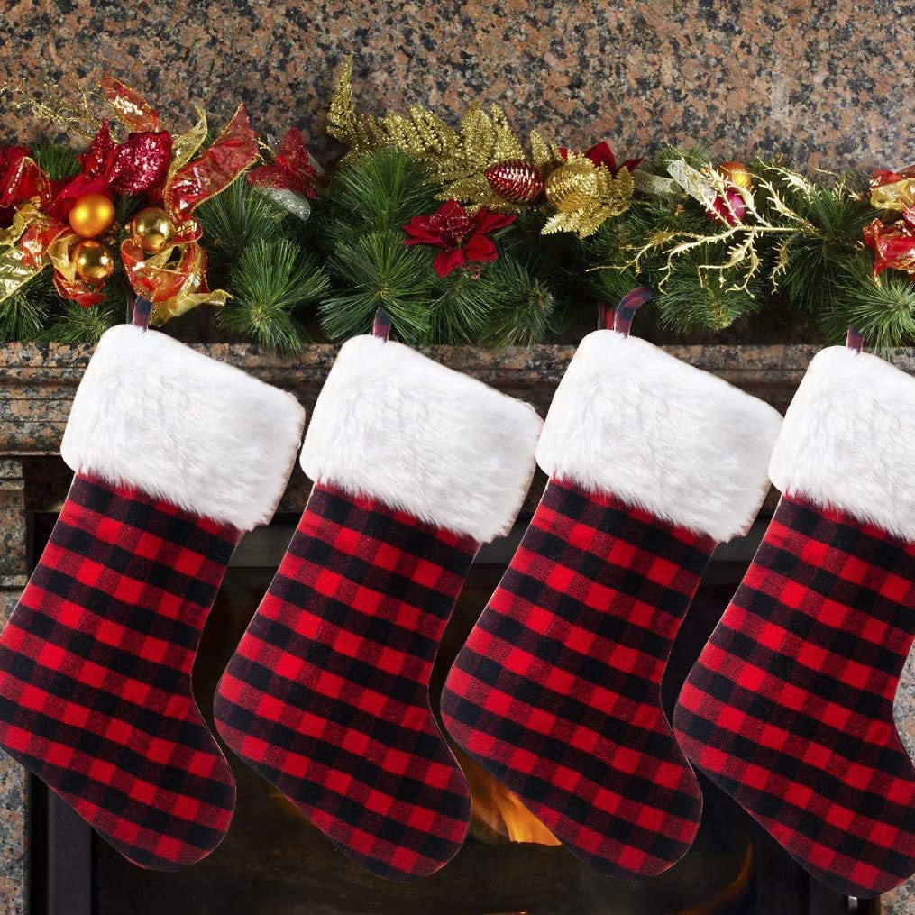 Ewer 4 Pack Plaid Christmas Stockings Red Xmas and Sale special price W Socks Black Long Beach Mall
