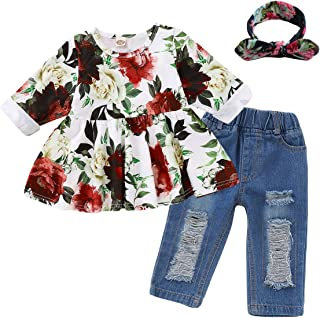 Alrigon Toddler Baby Girl Clothes, 3Pcs Girls Outfits Sets, Headbands+Floral T Shirt+Ripped Jeans