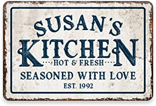 Pattern Pop Personalized Vintage Distressed Look Kitchen Seasoned with Love Metal Room Sign