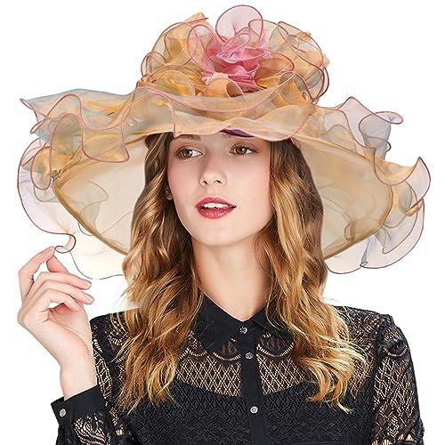 Vbiger Women s Summer Kentucky Derby Hat Large Brim Sun Hats Ascot Race Derby  Hat for Cocktail a683bfc2957b