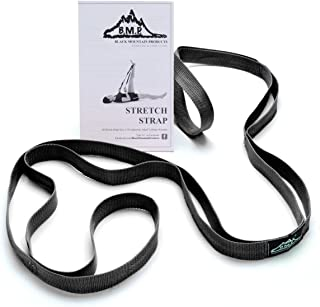 Black Mountain Products Exercise Stretch Strap with Instruction Guide, Black