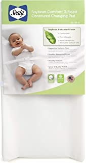 "Sealy Baby Soybean Comfort 3-Sided Contoured Diaper Changing Pad for Dresser or Changing Table, White, 32"" x 16"""