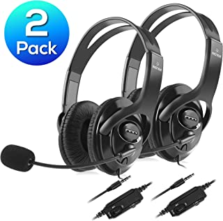 Insten 2-Pack Wired Gaming Headset for PS4, Over Ear 3.5mm Stereo Headphone with Mic Microphone, Black