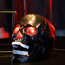 Wireless Life Size Skull Bluetooth Speaker with Led Flashing Eyes and Nose for Home Decor, Black