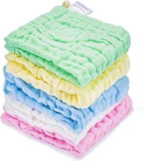Kyapoo Baby Muslin Washcloths, Towel Set for Bathroom-Hotel-Spa-Kitchen Multi-Purpose Extra Soft Newborn Baby Face Towel, Baby Registry as Shower Gift 5 Pack