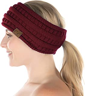 Funky Junque Womens Ponytail Head Wrap Messy Bun Lined Knit Headband Ear Warmer