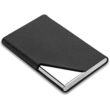 Storite PU Leather Steel Business Visiting Name Card Holder for Men and Women -(Black,6 x 1.5 x 9 cm)