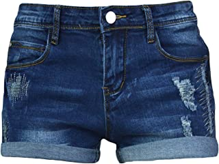 PHOENISING Women's Fashion Short Shorts Stylish Ripped Hole Jeans Roll-Over Hot Pants