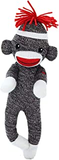 Plushland Adorable Sock Monkey 8 Inches Tall - Soft Realistic Plush Knitted Stuffed Animal Toy Gift - for Kids, Babies, Teens, Girls and Boys (Brown)