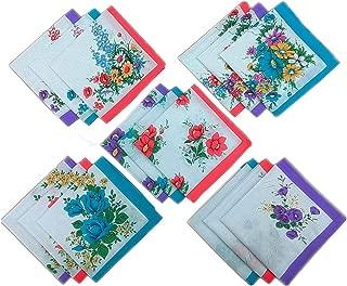 MENDENG Womens/Girls Vintage Multi Floral Wedding Party Cotton Handkerchiefs
