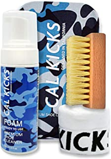 Cal Kicks Premium Shoe Cleaning Kit | Includes 5 Oz Cleaning Foam, Shoe Cleaning Brush, Microfiber Cloth, Blue Camo Travel Box | All Natural Solution For Leather, Suede, Canvas, Mesh & White Sneakers