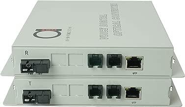 2 x POTS RJ11 Telephone and Ethernet Port Over Fiber Converter - Multiplexer - Extender Set of FXS FXO Units - Universal Single and Multimode - 1 km MM (0.62 mi) 20 km SM (11.4 mi) - Voice Over Fiber