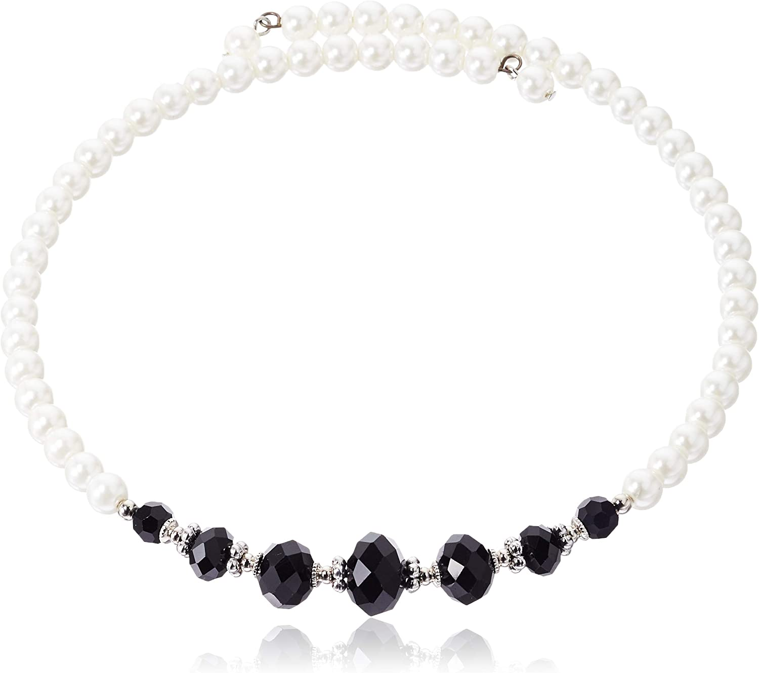 1928 Jewelry Simulated Pearl and Black Crystal Coil Choker Necklace 15