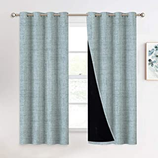 NICETOWN 100% Blackout Curtains for Bedroom, Rural Style Faux Linen Texture Pattern Printed Window Treatment Panel for Office/Dorm/Hotel, 1 Panel = 52 inches W x 63 inches L, Deep Sea Green, 2 Panels