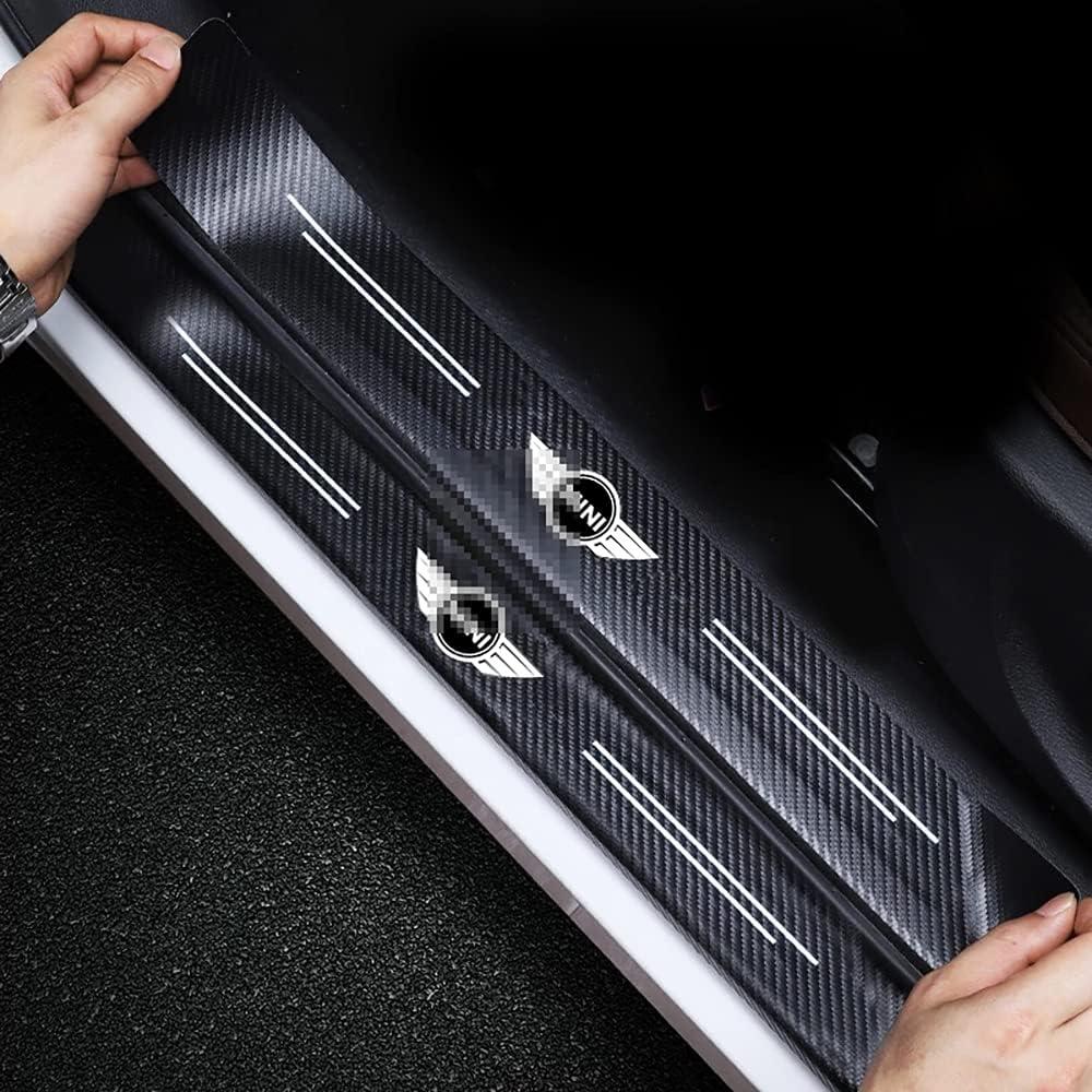 4 Piezas Barra Umbral Puerta, para Mini Cooper S JCW R56 R50 F60 R60 F55 F56 Fibra Carbono Decoración Estribos Antideslizante Tira Accesorios Decorativos