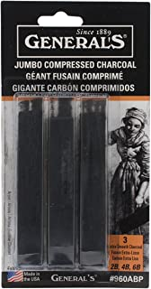 General Pencil 136357 Jumbo Compressed Charcoal Sticks, Black, 3-Pack