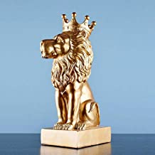 Best XHCP Lion,King of The Forest Lion S with Gold Crown Animal Figurine for Study Home Desktop Decor-Golden 17x11x31cm(7x4x12inch) Review