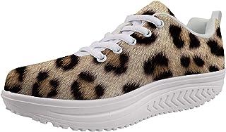 Woisttop, scarpe da donna con zeppa per aumentare l'altezza, comode scarpe da allenamento alla moda, (Stampa leopardata.),...