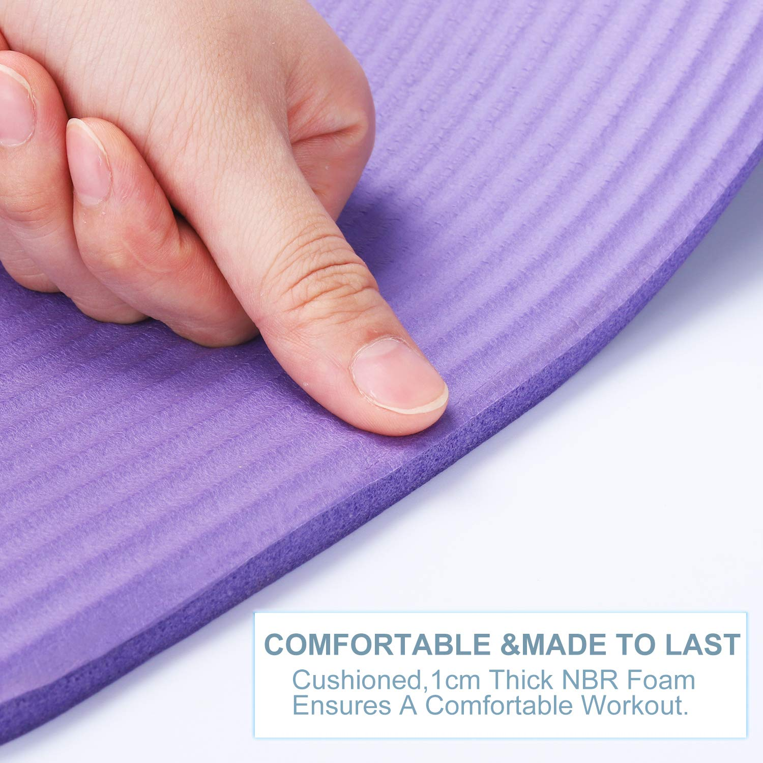 Jestilo Yoga Mat for Women and Men  Non-slip NBR exercise mat   Eco-friendly, Light-Weight Mat with Carry Strap for Yoga, Meditation, Pilates and Gymnastics  Size 183 * 61cm with 10MM Thickness