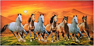 7 Running Horses with Vastu Sunrise Wall Sticker Poster Big Without Frame (Vinyl 24 X 48 Inches)