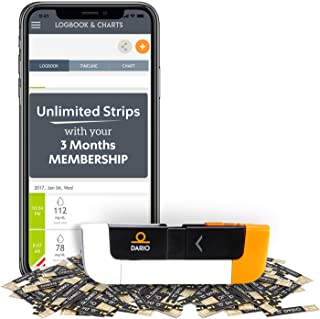 Get Unlimited Test Strips to Monitor Blood Sugar for Diabetes. Testing Kit & 3-Month Membership with Dario LC Blood Glucose Monitoring System for iPhone Also Includes Glucometer, 100 Lancets, Reports
