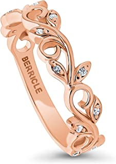 BERRICLE Rose Gold Plated Sterling Silver Cubic Zirconia CZ Leaf Filigree Fashion Right Hand Ring
