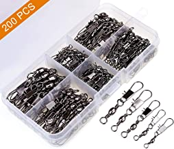 MOBOREST 200PCS Barrel Snap Swivel Fishing Accessories,...