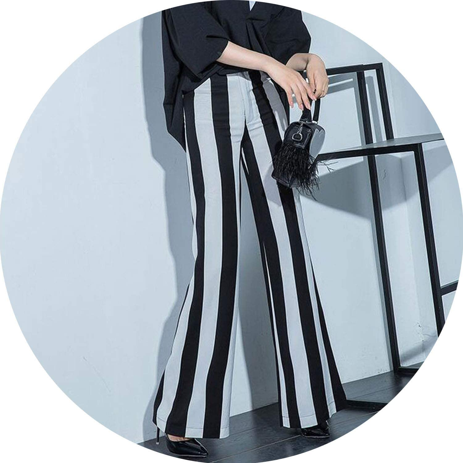 Can't be satisfied Summer Women's Cotton Flax Pants Loose Woman Casual Striped Linen Wide Leg Trousers