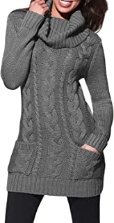 Women Asymmetric Buttoned Cable Knit Bodycon Mini Sweater Dress Jumper