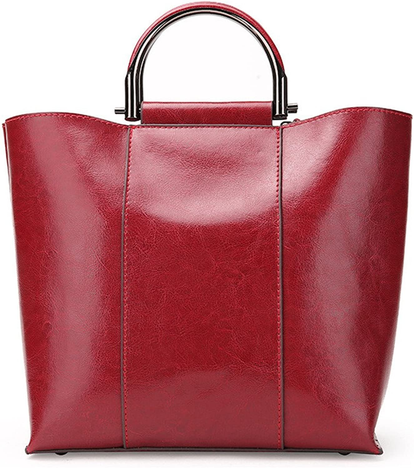Sturdy Fashian Retro Oil Motorcycle Packages Atmosphere Simple Ms. Shoulder Diagonal Bags Women Oil Wax Handbags Wild color Combination Large Capacity (color   Red Wine)