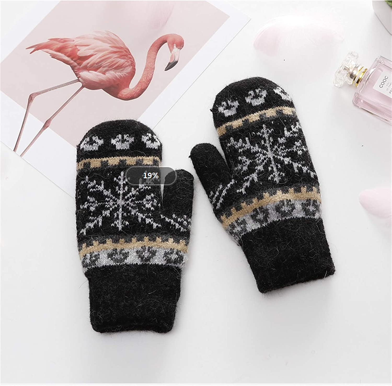 GUYANMAY Gloves Women Gloves Winter Knitted Warm Gloves Delicate Pattern Windproof Gloves Mittens Gloves Heated for Warm (Color : Black, Gloves Size : One Size)