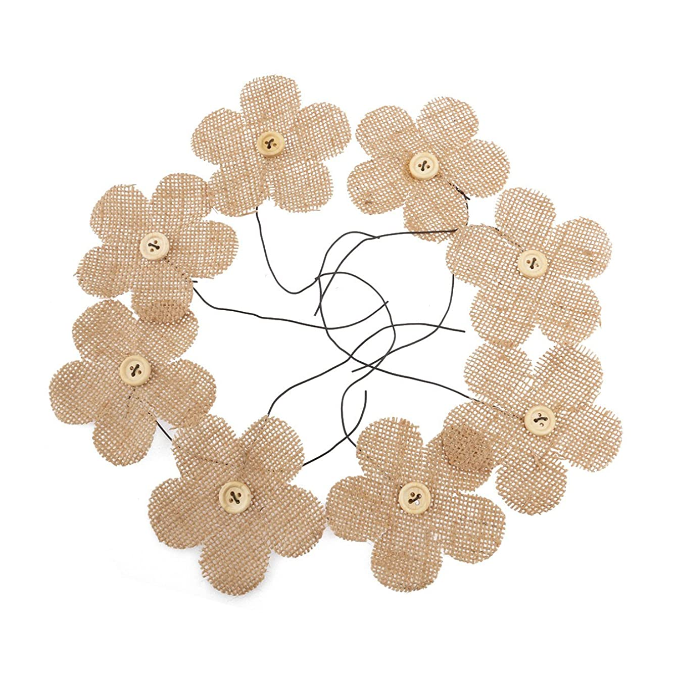 NUOLUX 8pcs Burlap Flowers with Buttons - Brown