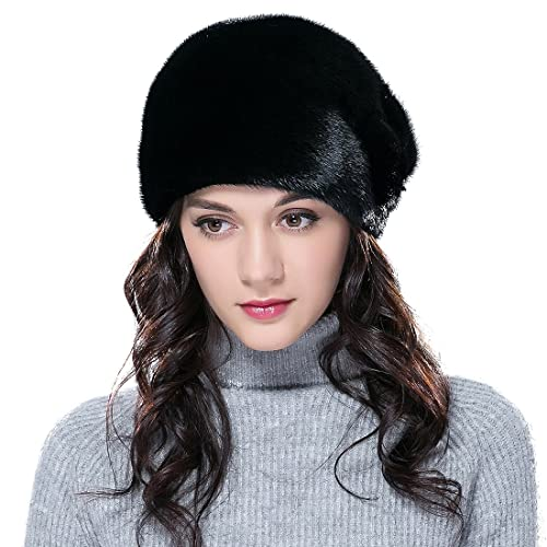 f14d4681bc6e3 URSFUR Mink Fur Women s Cloche Hat Round Top Black