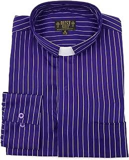 Mens PIN Stripe Clergy TAB Collar Shirt (Roman Purple/White Stripe)