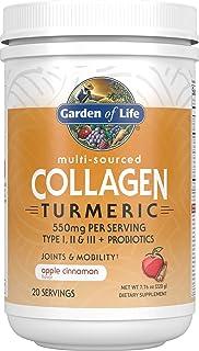 Garden of Life Multi-Sourced Collagen Turmeric - Apple Cinnamon, 20 Servings, Collagen Powder for Women Men Joints Mobilit...