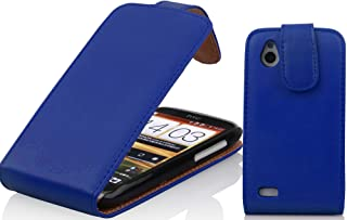 Cadorabo 1Z-ADKS-DKNC HTC DESIRE X Mobile Phone Case Smooth Imitation Leather Blue