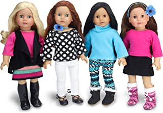 American Doll Winter Set by Sophia's | Black, Blue and Pink Doll Clothes, Mix and Match Doll Outfits of 8+ Pieces | Budget Friendly Line
