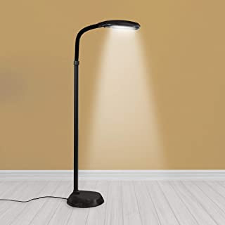 Kenley Natural Daylight Lamp - Floor Standing Reading Task Light - 27-watt Full Spectrum White Bright Sunlight Torchiere for Living Room, Bedroom or Office - Adjustable Gooseneck Arm - Black