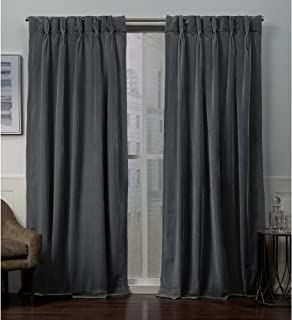 Exclusive Home Curtains Velvet PP Panel Pair, 84 Length, Soft Grey