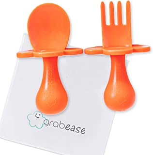 GRABEASE First Self Feed Baby Utensils - Anti-Choke, BPA-Free Baby Spoon and Fork Toddler Utensils with Pouch Set - Toddle...
