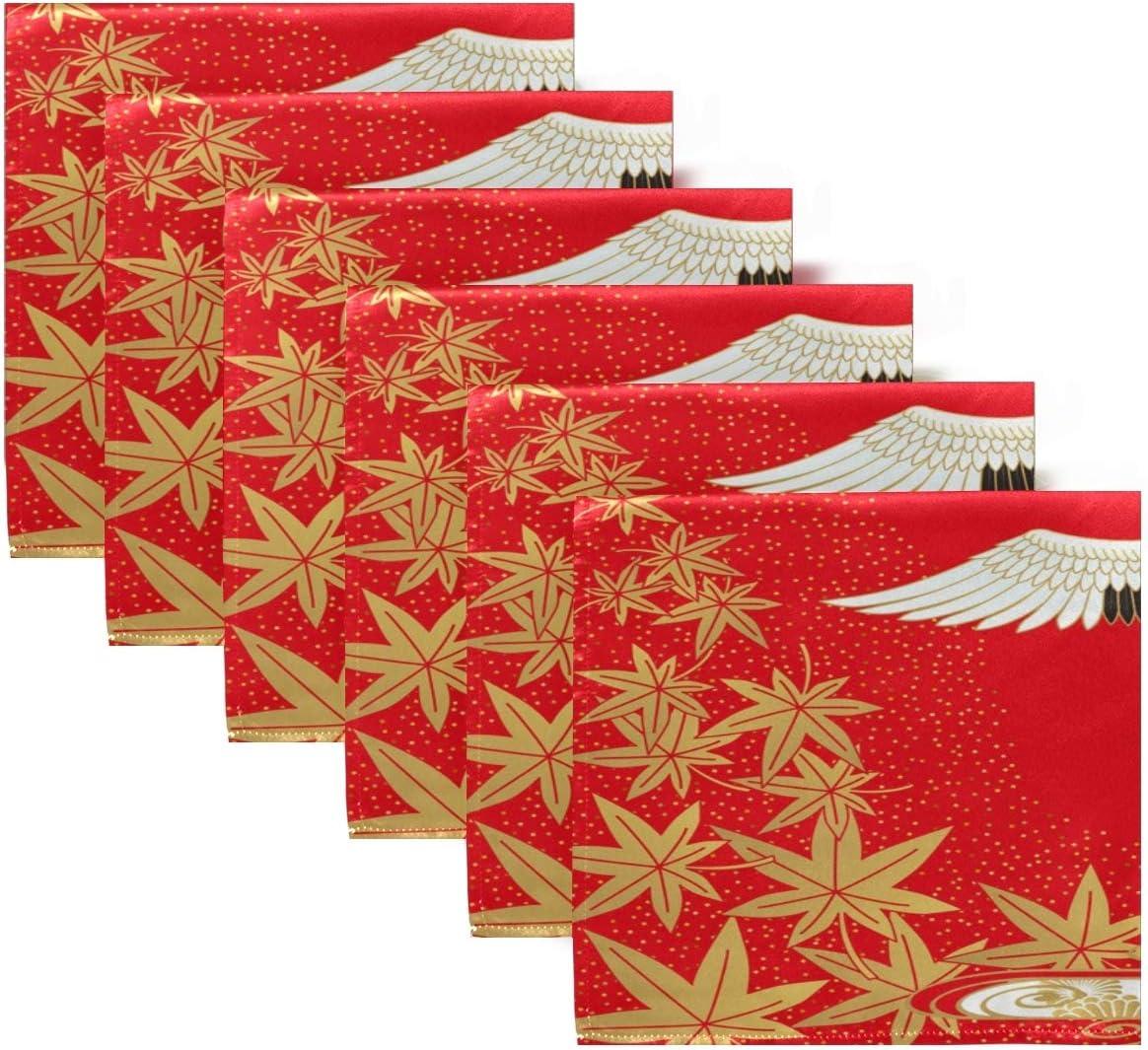 h/ôtel mariage iRoad Serviettes de table r/éutilisables Grue japonaise en /érable cerisier pour maison lot de 1 serviette de table 20 x 50,8 cm cuisine salle /à manger