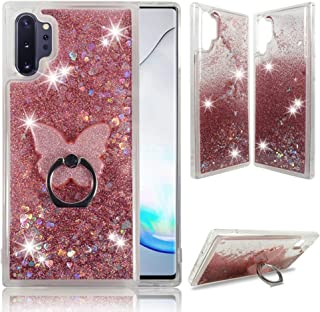 Samsung Note 10 Plus Clear Case, ZASE Liquid Glitter Sparkle Bling Compatible for Galaxy Note 10+ Plus 6.8-inch Cute Women Girls Protective Durable Cover Floating Quicksand w/Phone Ring (Pink Rose)