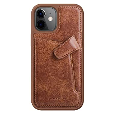 """Nillkin Case for Apple iPhone 12 Mini (5.4"""" Inch) Aoge Leather 360 Protection Elite Business Case with Soft Microfiber Lining & Internal Card Slot Brown"""