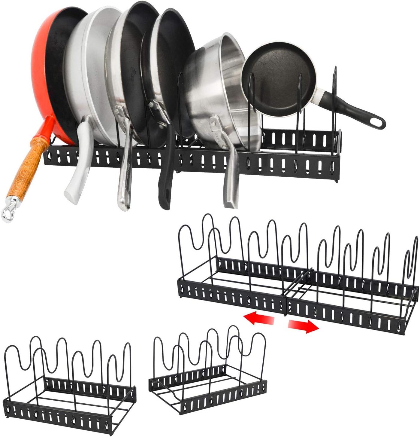 EYEPOWER Organizador de Cocina Telescópico 8 Estantes - Soporte Ollas Sartenes Tapas - Armario Cajón
