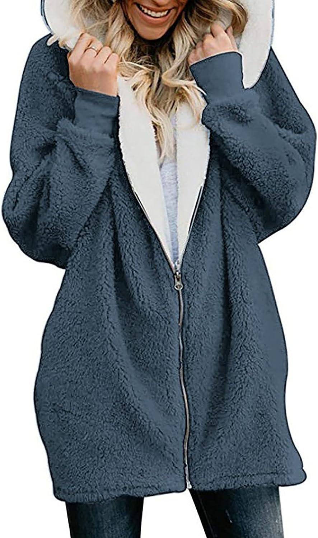 Womens Fuzzy Fleece Hoodies Winter Warm Zip Up Faux Fur Jacket Coat Loose Mid-Long Cardigan Thick Plush Lined Outwear